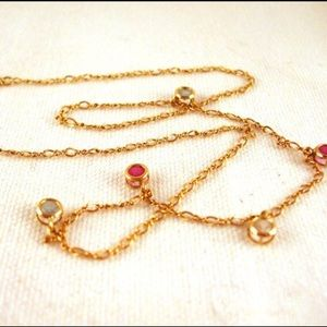 Jewelry - 14k gold Figaro station chain necklace
